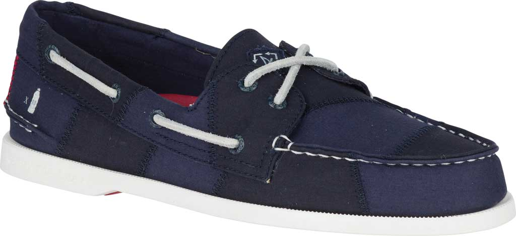 Men's Sperry Top-Sider Authentic Original 2-Eye Bionic Boat Shoe, Navy/Red/Green Recycled Textile, large, image 1