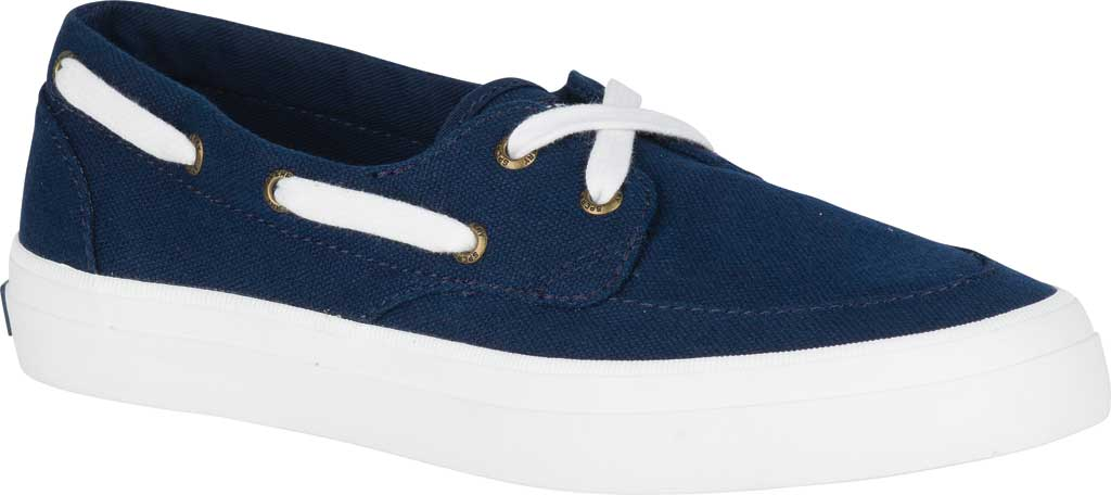 Women's Sperry Top-Sider Crest Boat Shoe, Navy Canvas, large, image 1