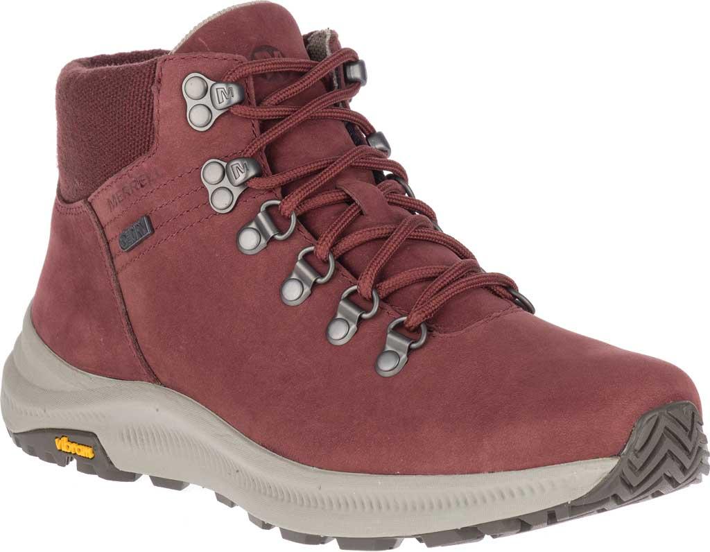Women's Merrell Ontario Mid Waterproof Hiker Boot, Raisin Full Grain Leather, large, image 1