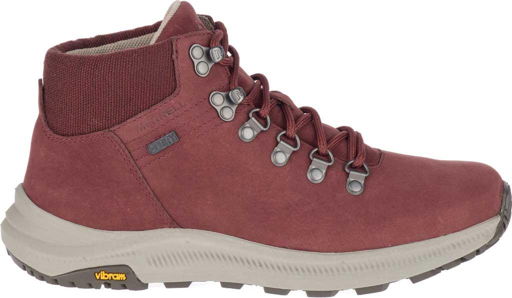 Women's Merrell Ontario Mid Waterproof Hiker Boot, Raisin Full Grain Leather, large, image 2