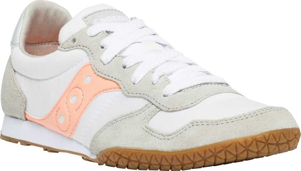 Women's Saucony Originals Bullet Lace Up Sneaker, White/Pink/Gum, large, image 1