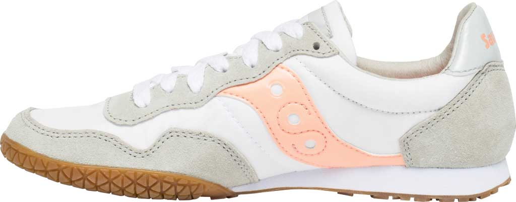 Women's Saucony Originals Bullet Lace Up Sneaker, White/Pink/Gum, large, image 3