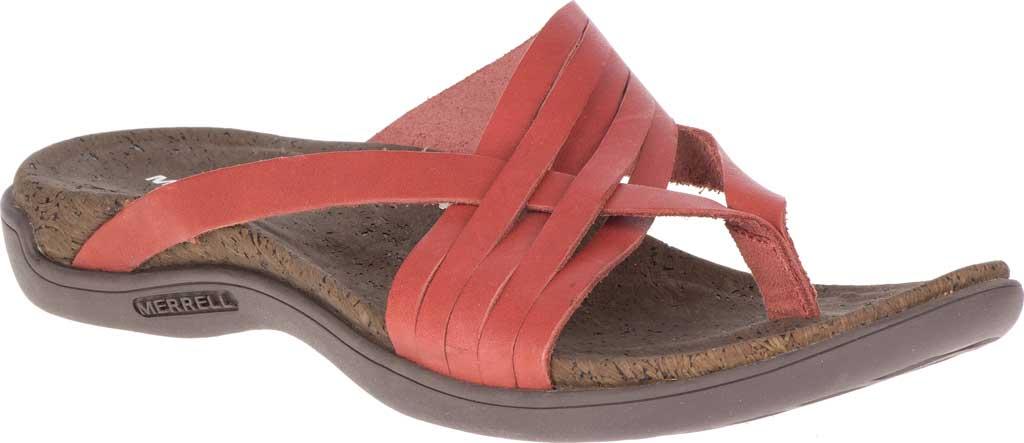 Women's Merrell District Mahana Post Thong Sandal, Redwood Full Grain Leather, large, image 1