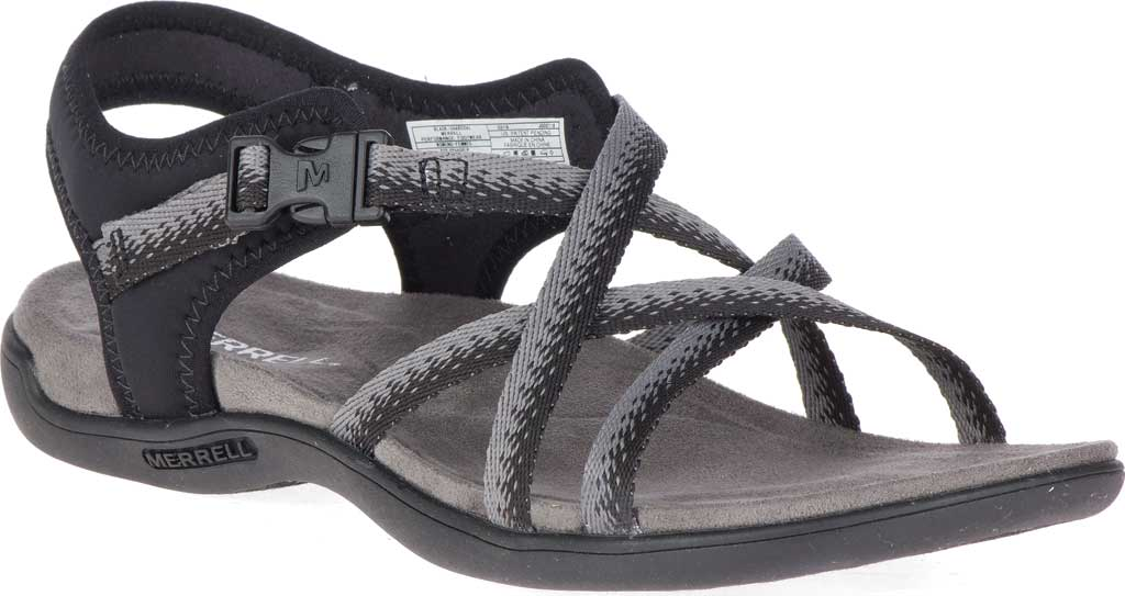 Women's Merrell District Muri Lattice Strappy Sandal, Black/Charcoal Textile/Neoprene, large, image 1