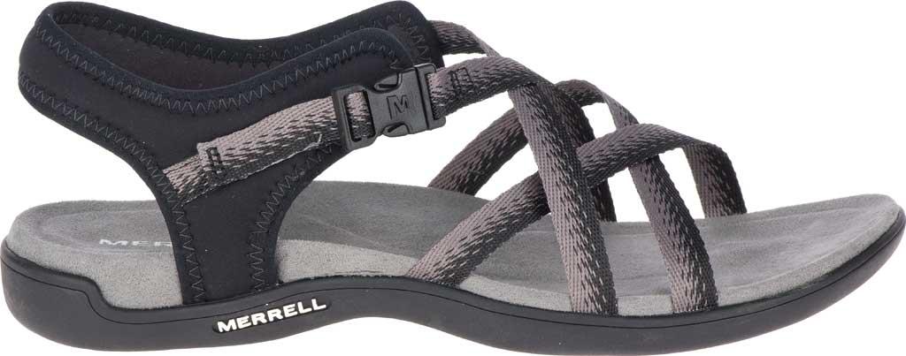 Women's Merrell District Muri Lattice Strappy Sandal, Black/Charcoal Textile/Neoprene, large, image 2
