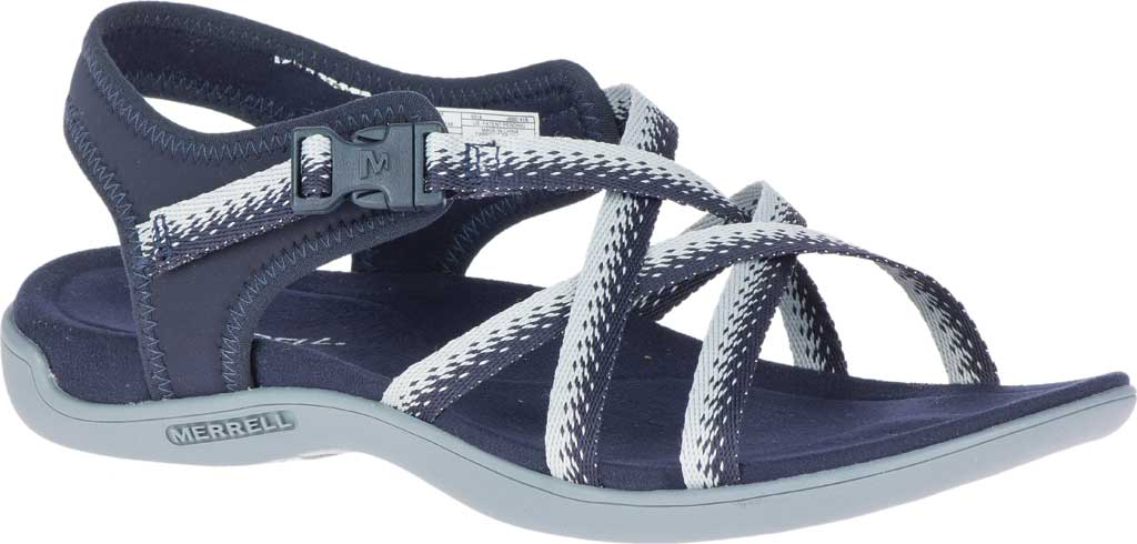 Women's Merrell District Muri Lattice Strappy Sandal, Navy/Grey Textile/Neoprene, large, image 1
