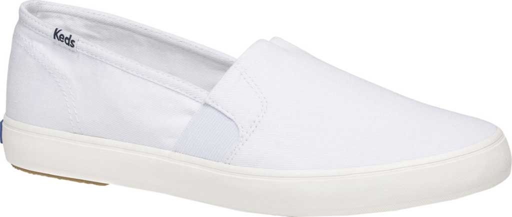 Women's Keds Clipper Washed Solids Slip On, White Twill, large, image 1