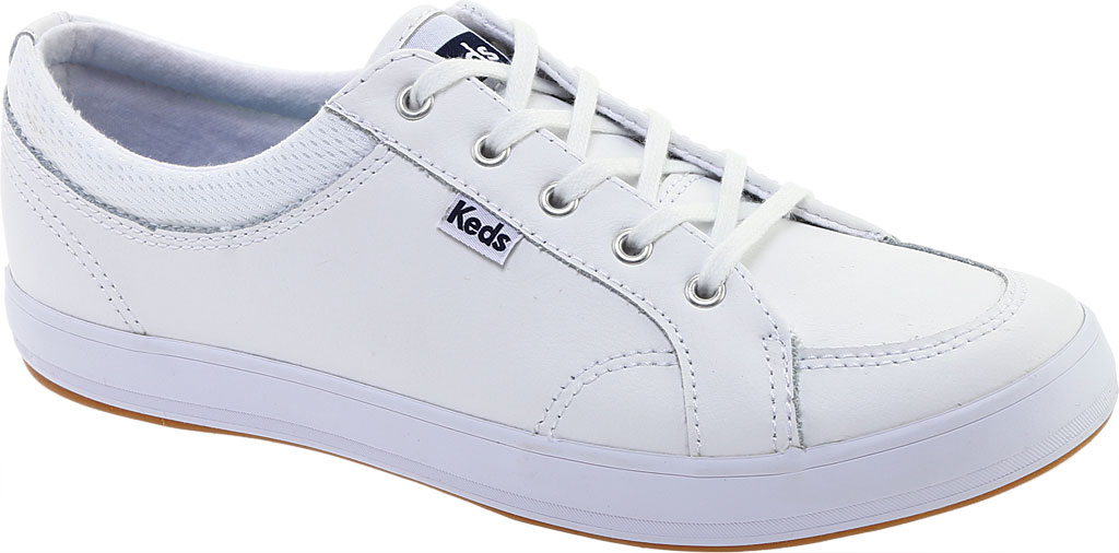 Women's Keds Center Leather Sneaker, White Leather, large, image 1