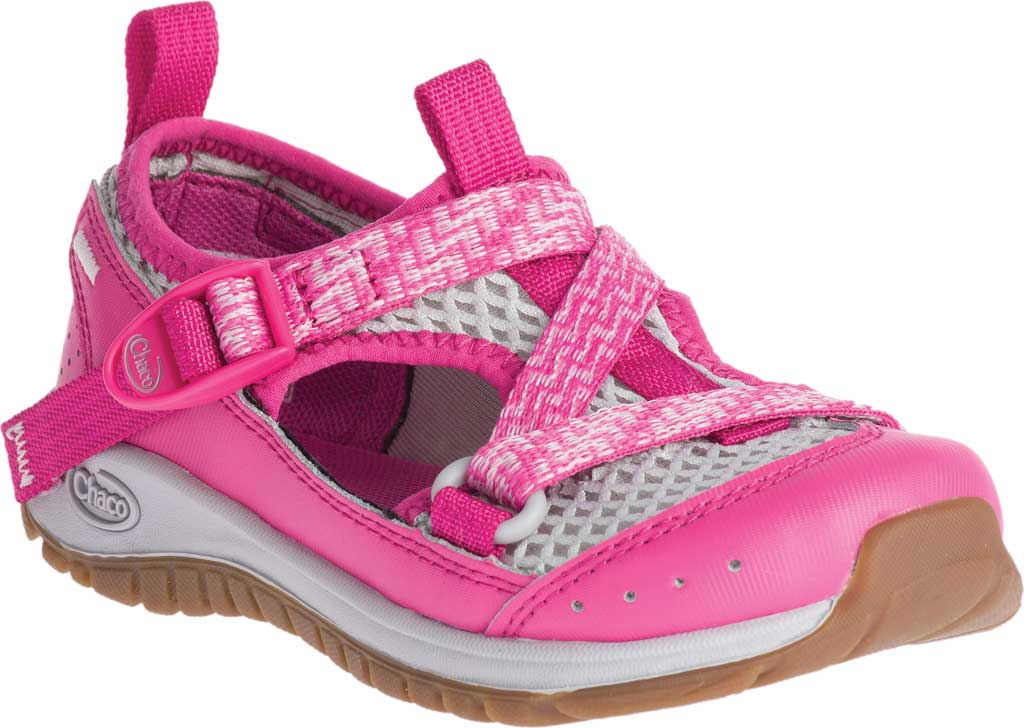 Children's Chaco Odyssey Vegan Sport Sandal, Pink Mesh, large, image 1