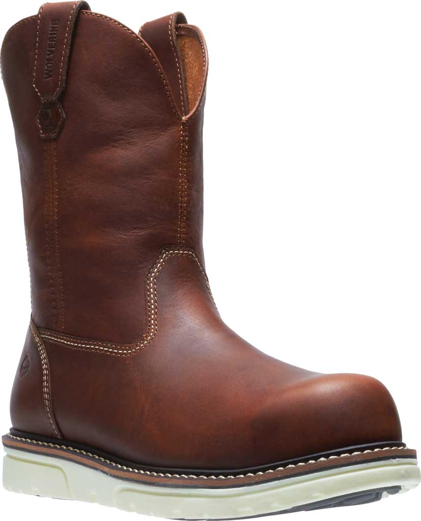 Men's Wolverine I-90 DuraShocks Wedge Wellington Comp Toe Boot, Brown Full-Grain Leather, large, image 1