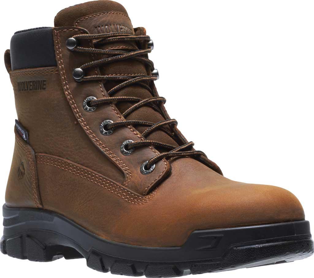 Men's Wolverine Chainhand Waterproof Steel Toe Work Boot, Brown Full Grain Leather, large, image 1