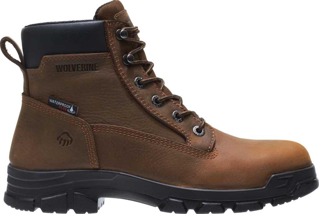 Men's Wolverine Chainhand Waterproof Steel Toe Work Boot, Brown Full Grain Leather, large, image 2
