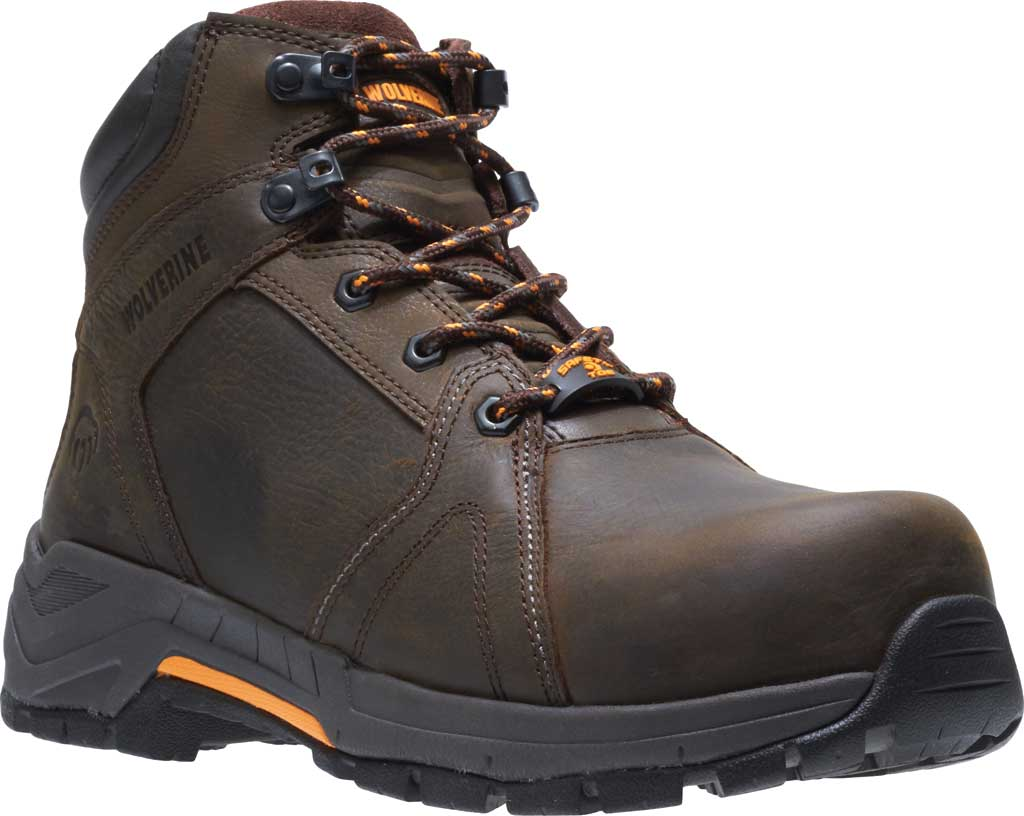 Men's Wolverine Contractor LX EPX Composite Toe Work Boot, Brown Waterproof Full Grain Leather, large, image 1