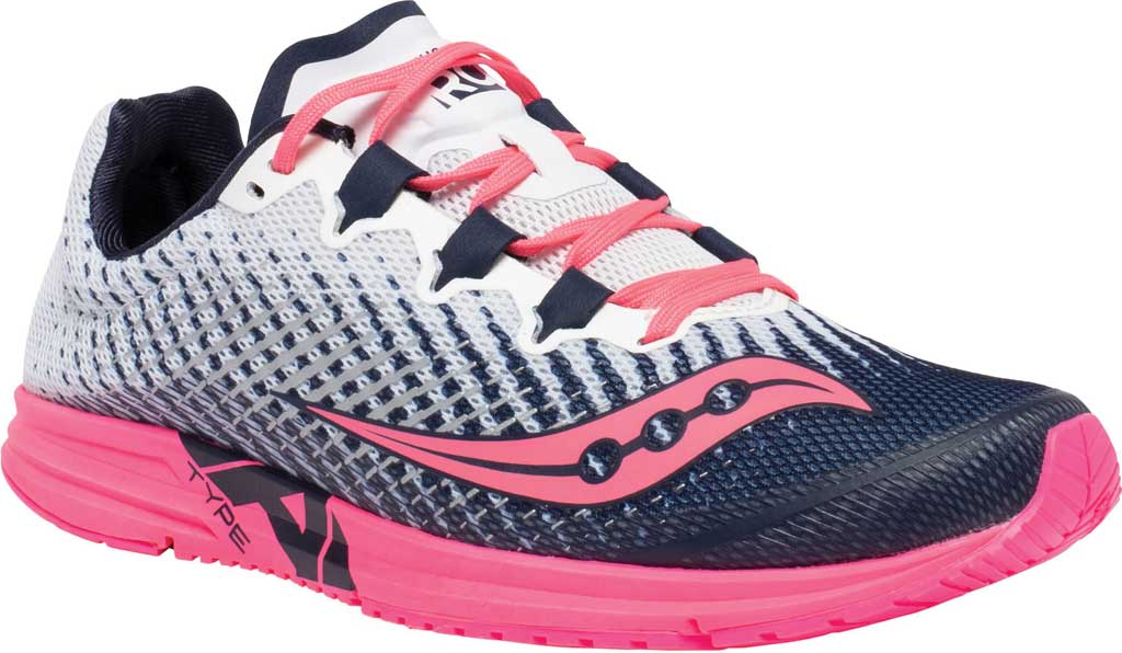 Women's Saucony Type A9 Running Sneaker, White/Pink, large, image 1