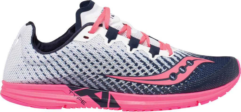 Women's Saucony Type A9 Running Sneaker, White/Pink, large, image 2