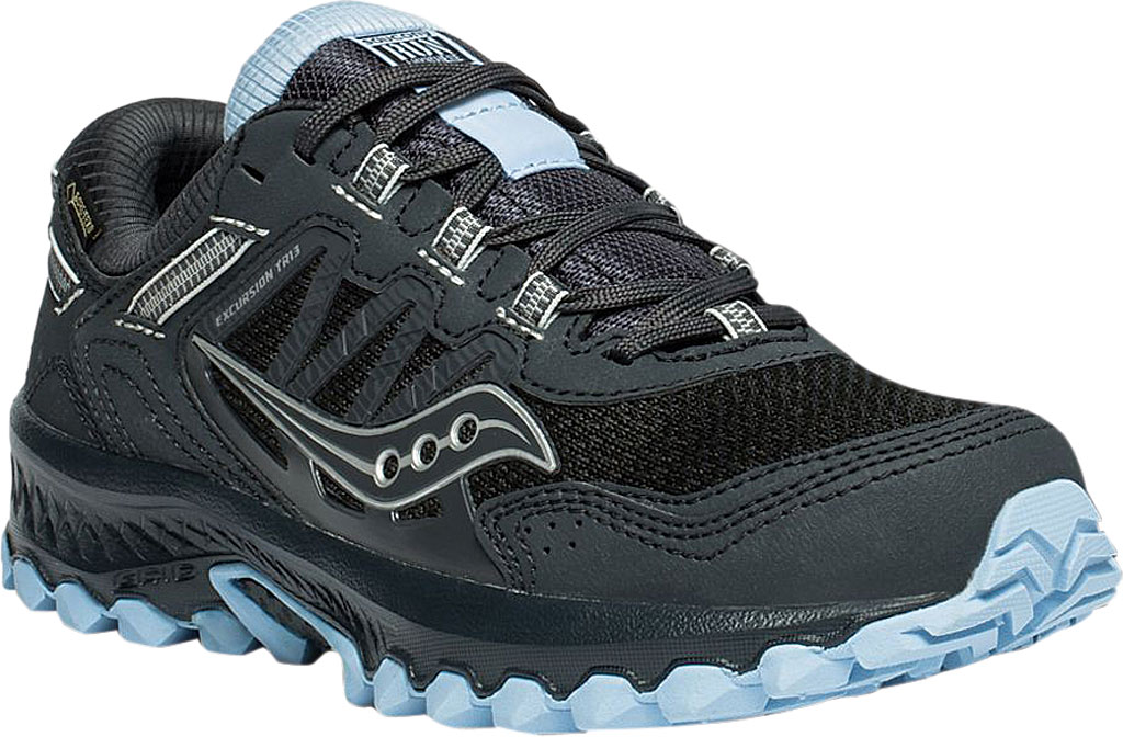 Women's Saucony Versafoam Excursion TR13 GTX Running Sneaker, Black/Blue Trail Specific Mesh, large, image 1