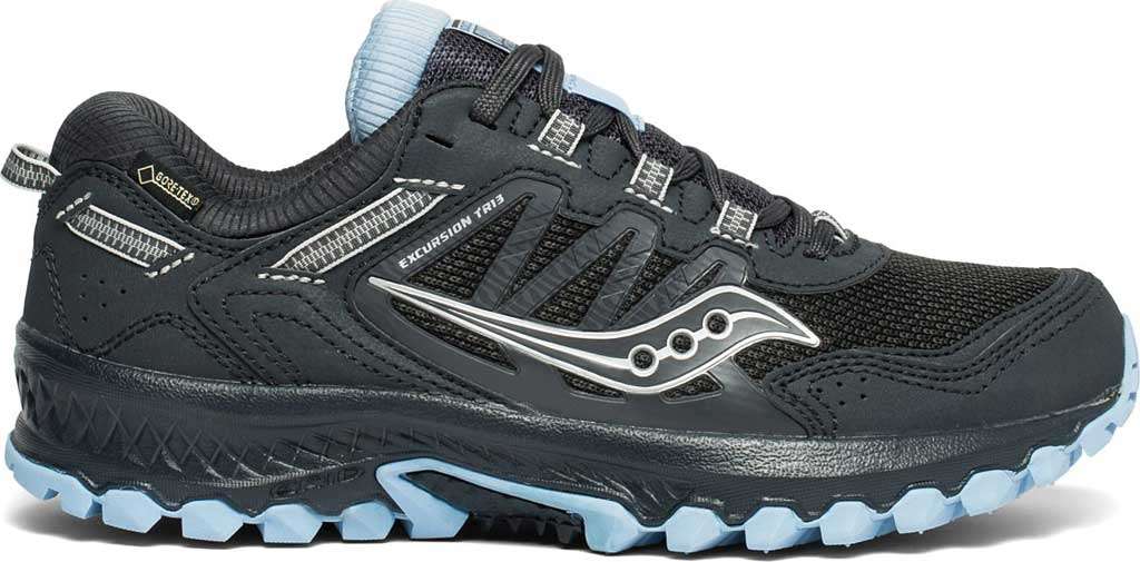 Women's Saucony Versafoam Excursion TR13 GTX Running Sneaker, Black/Blue Trail Specific Mesh, large, image 2