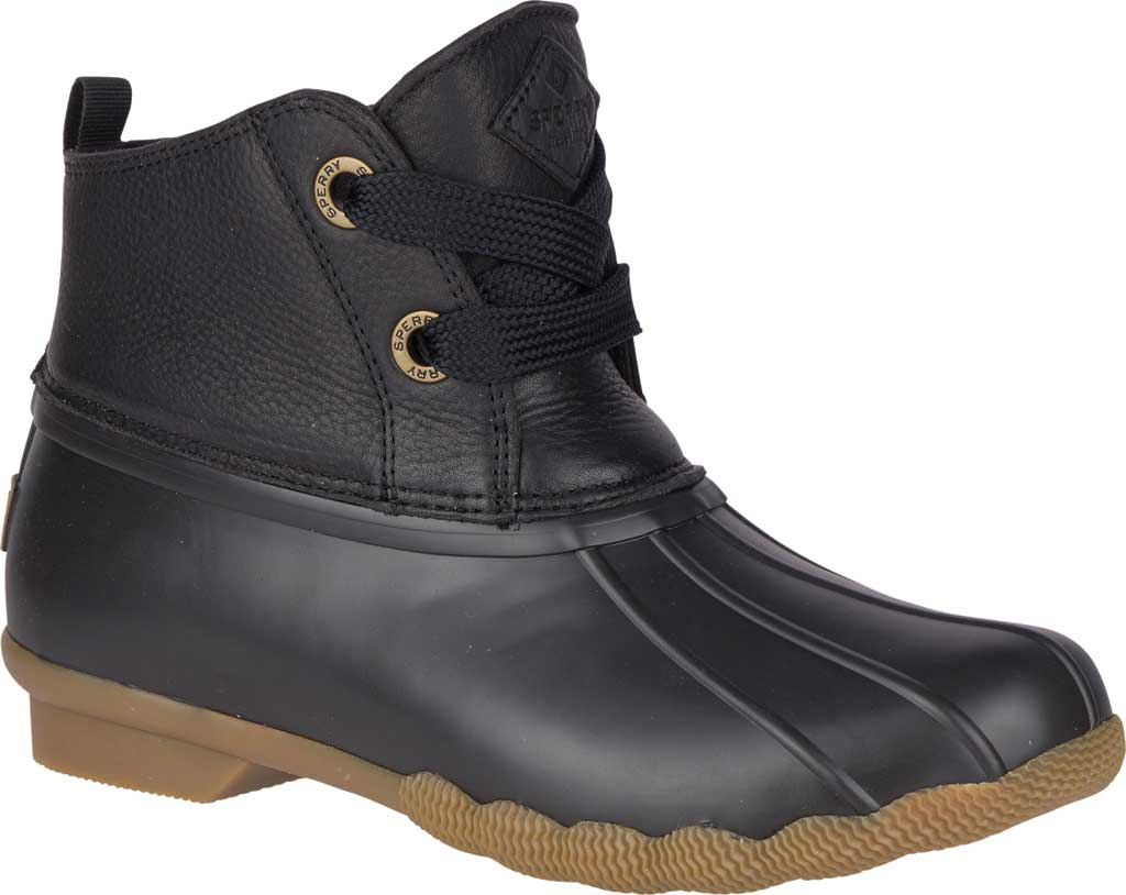 Women's Sperry Top-Sider Saltwater 2-Eye Duck Boot, Black Leather/Pearlized Rubber, large, image 1