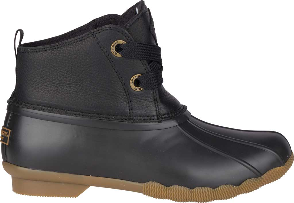 Women's Sperry Top-Sider Saltwater 2-Eye Duck Boot, Black Leather/Pearlized Rubber, large, image 2