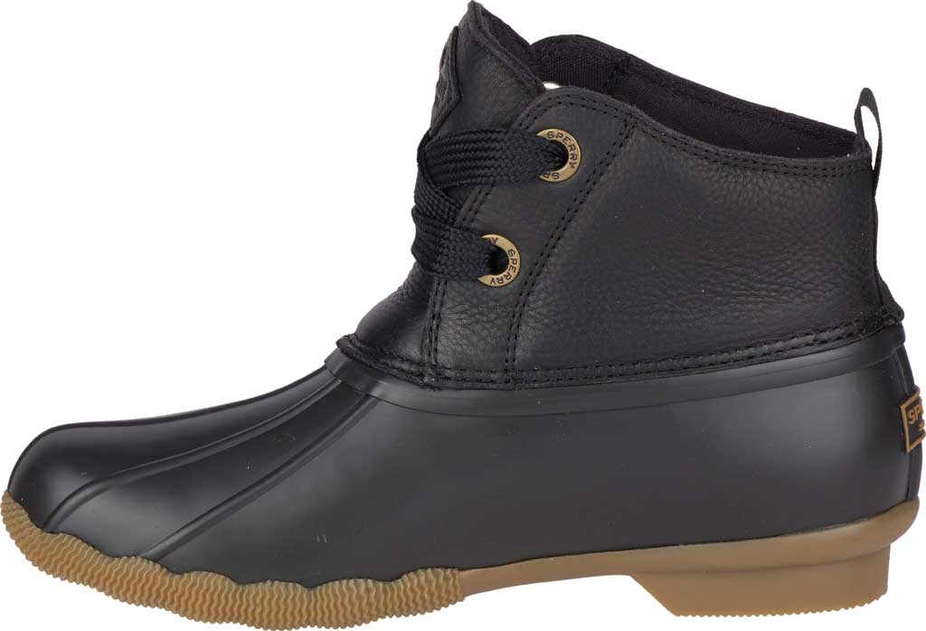 Women's Sperry Top-Sider Saltwater 2-Eye Duck Boot, Black Leather/Pearlized Rubber, large, image 3