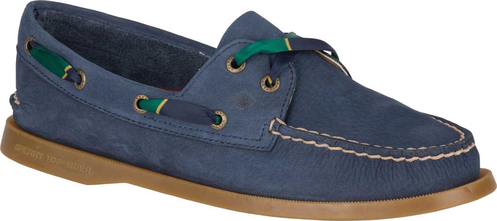 Women's Sperry Top-Sider Authentic Original 2-Eye Varsity Boat Shoe, Navy Leather, large, image 1