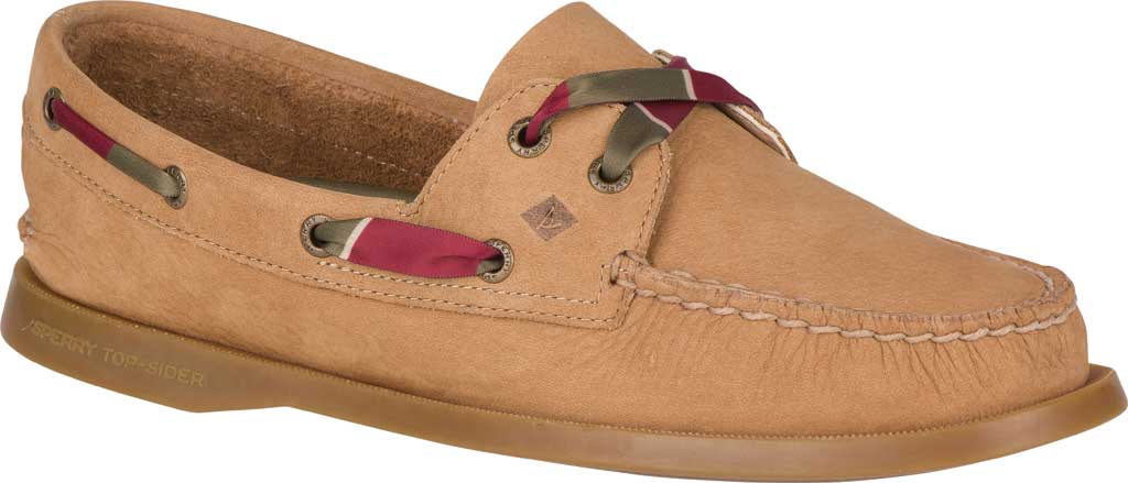 Women's Sperry Top-Sider Authentic Original 2-Eye Varsity Boat Shoe, Tan Leather, large, image 1