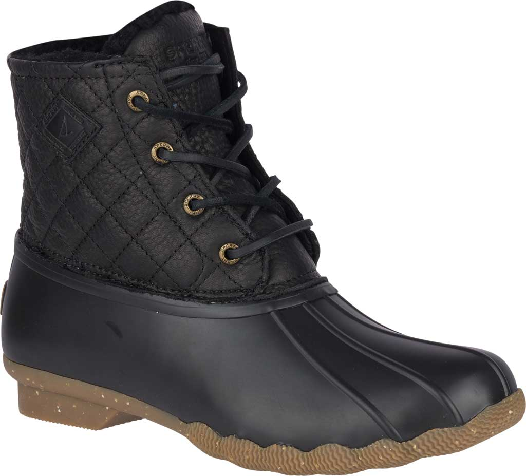 Women's Sperry Top-Sider Saltwater Winter Lux Boot, Black Quilted Premium Leather/Rubber, large, image 1