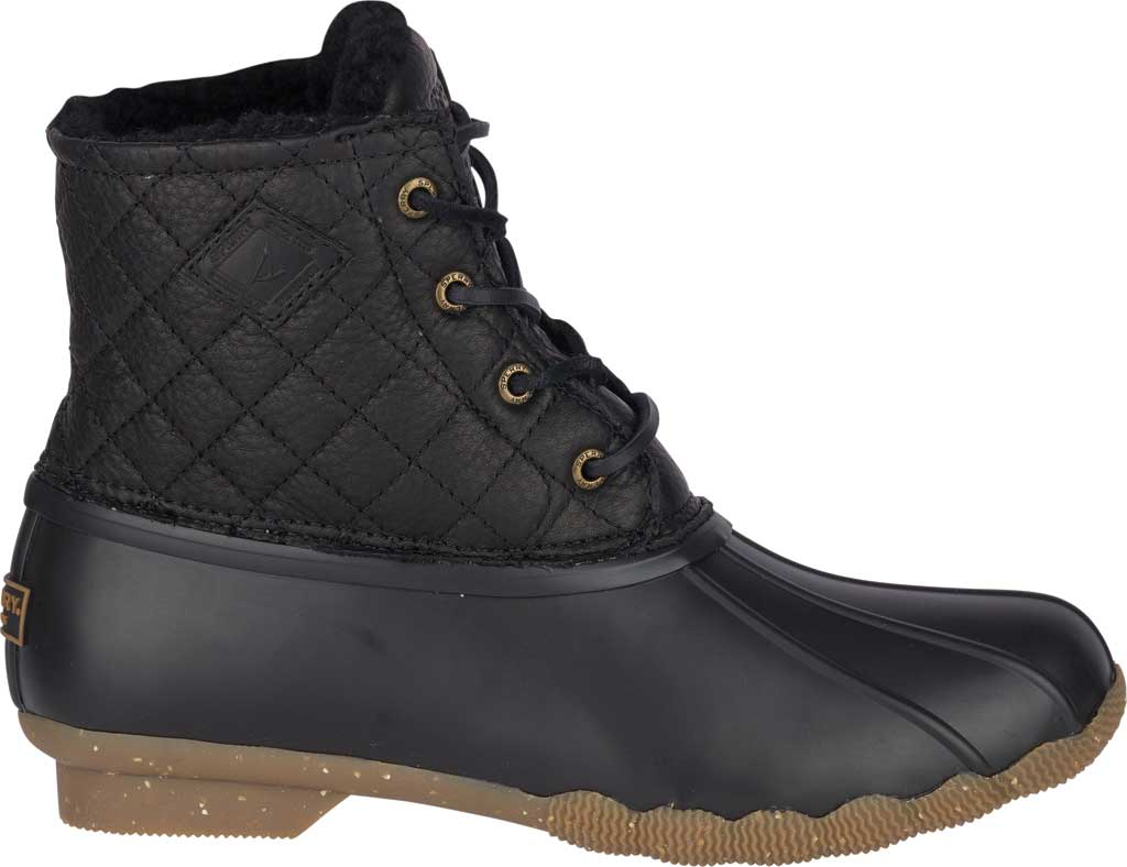 Women's Sperry Top-Sider Saltwater Winter Lux Boot, Black Quilted Premium Leather/Rubber, large, image 2
