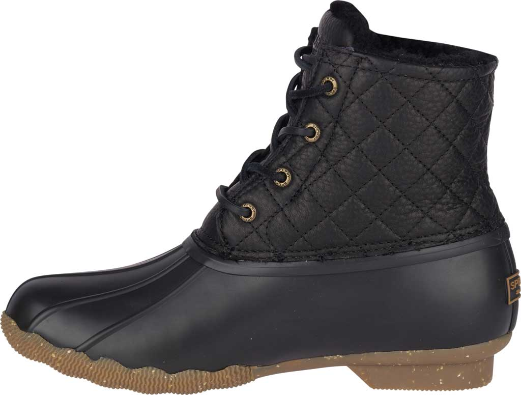 Women's Sperry Top-Sider Saltwater Winter Lux Boot, Black Quilted Premium Leather/Rubber, large, image 3
