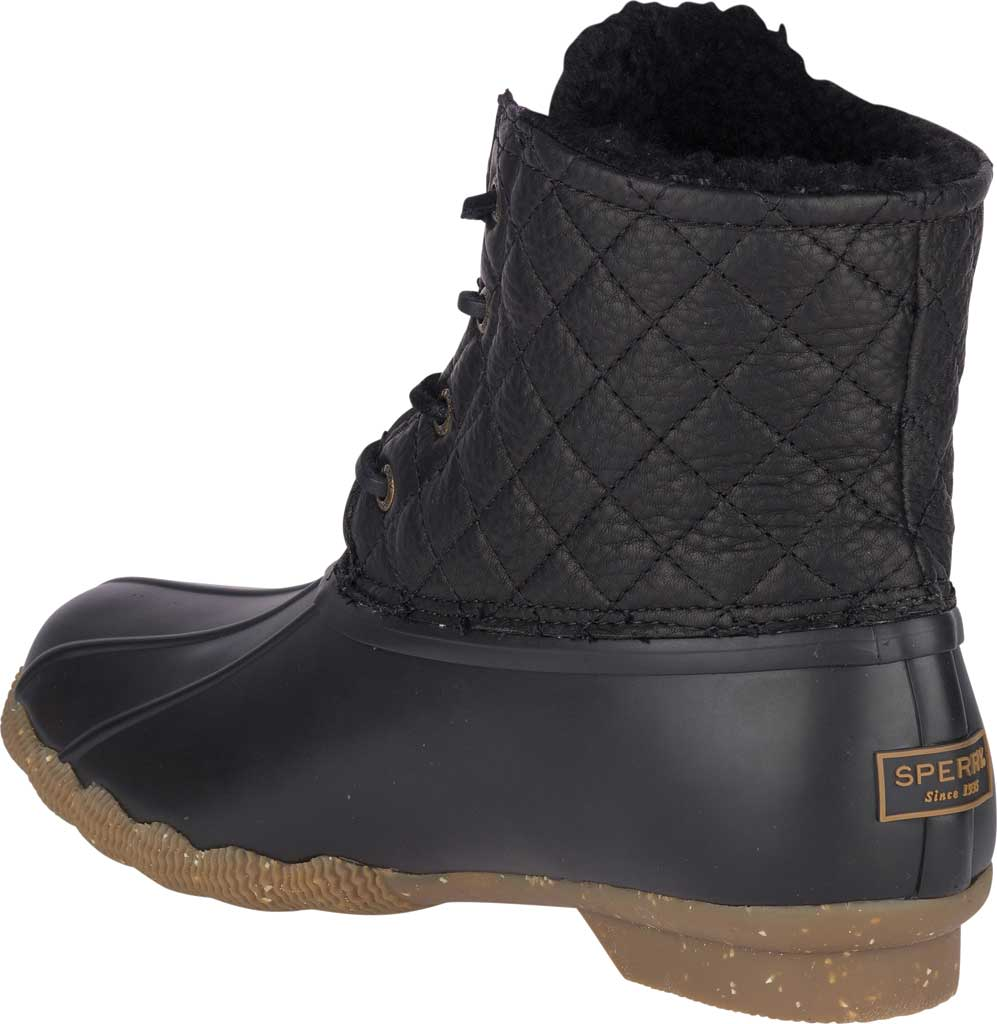 Women's Sperry Top-Sider Saltwater Winter Lux Boot, Black Quilted Premium Leather/Rubber, large, image 4