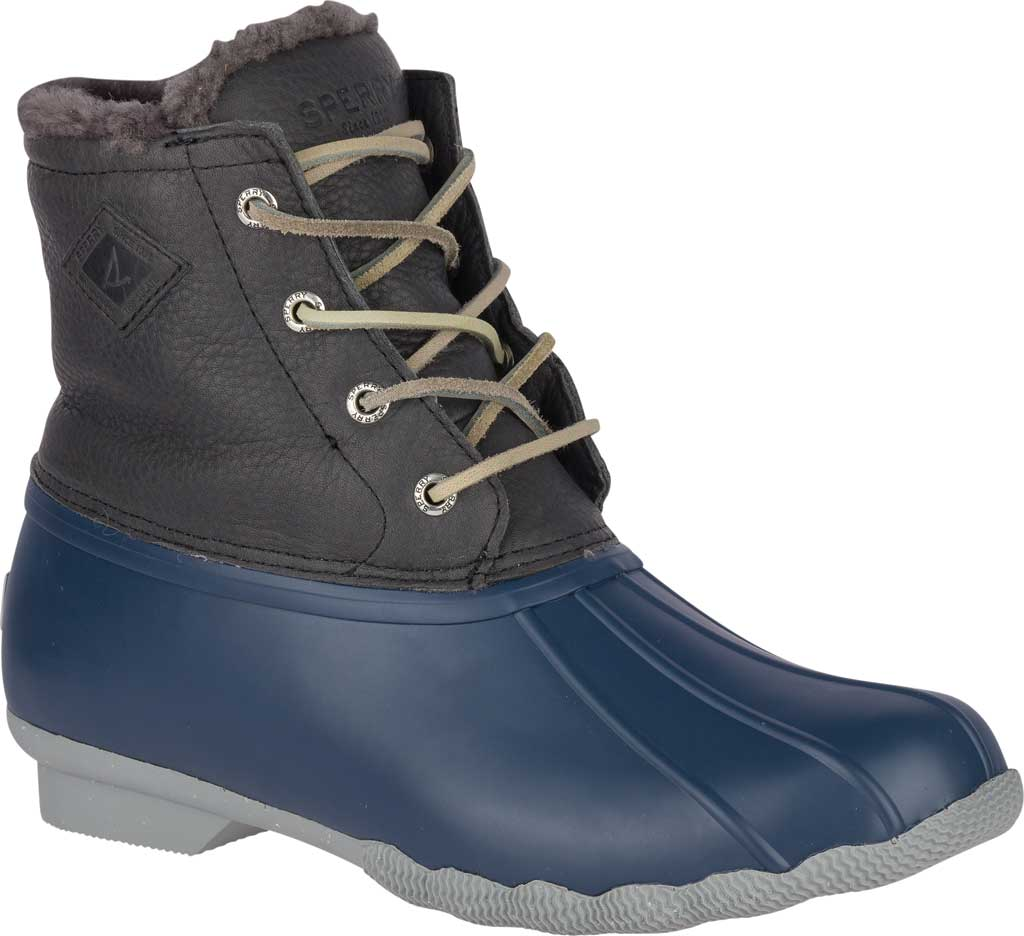 Women's Sperry Top-Sider Saltwater Winter Lux Boot, Grey/Navy Premium Leather/Rubber, large, image 1