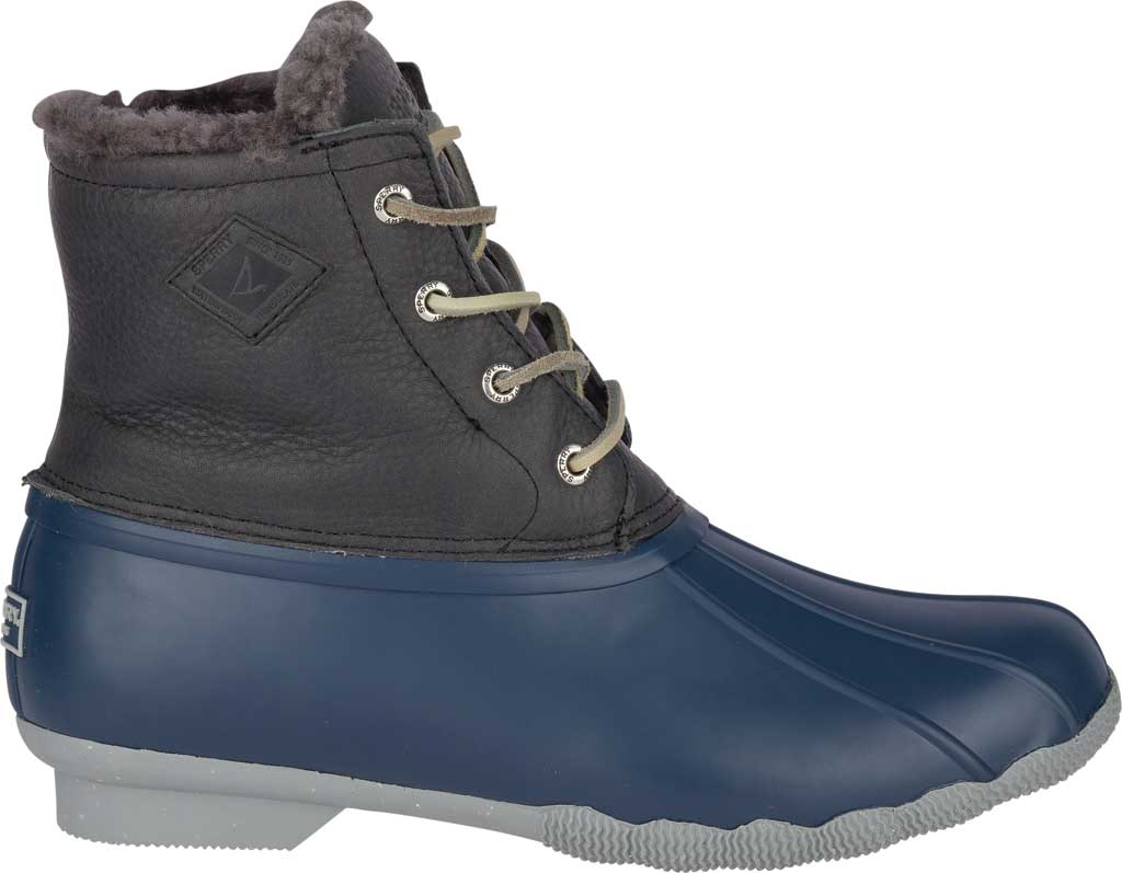 Women's Sperry Top-Sider Saltwater Winter Lux Boot, Grey/Navy Premium Leather/Rubber, large, image 2