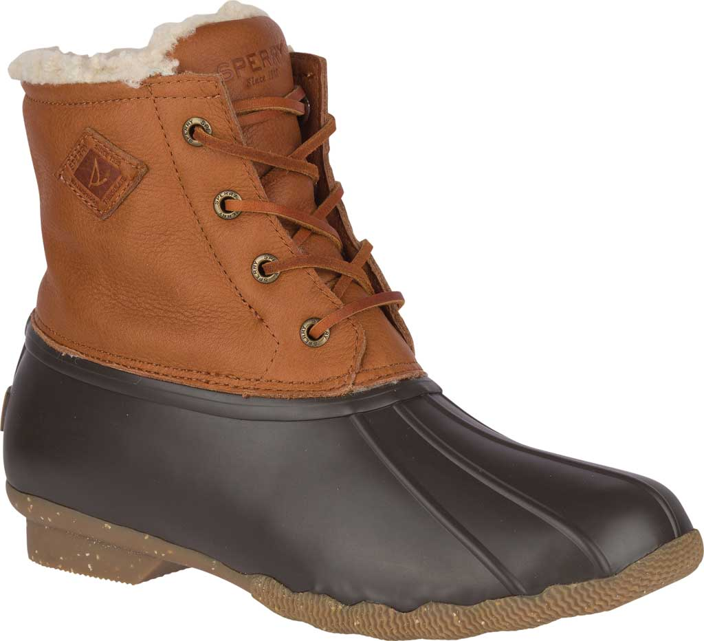 Women's Sperry Top-Sider Saltwater Winter Lux Boot, Tan Premium Leather/Rubber, large, image 1