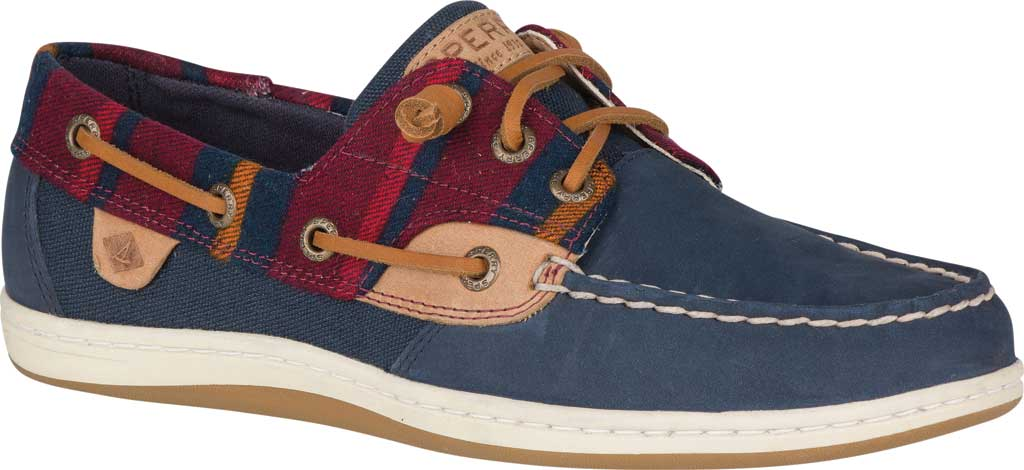 Women's Sperry Top-Sider Songfish Varsity Wool Boat Shoe, Navy Premium Leather, large, image 1