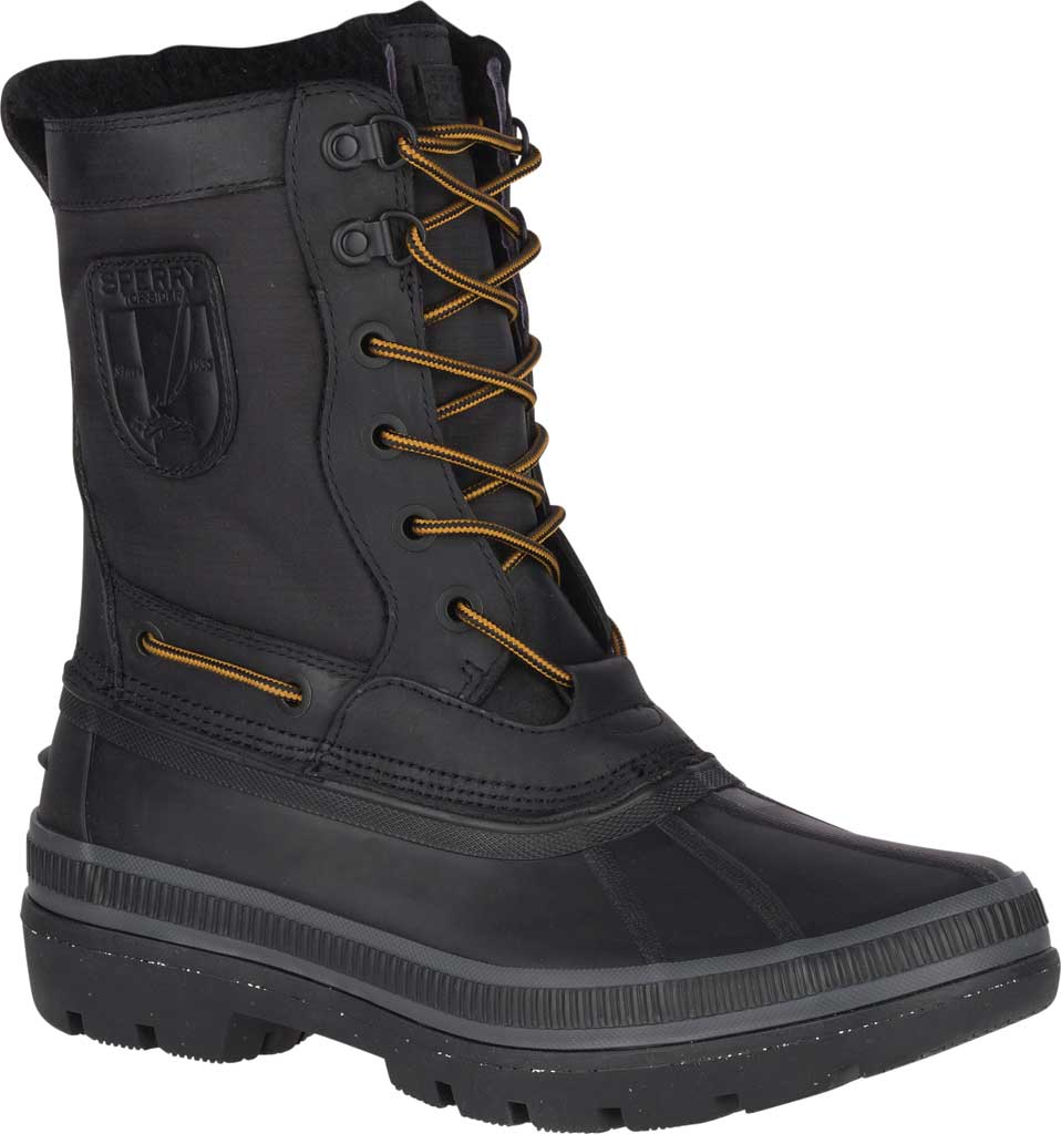 Men's Sperry Top-Sider Ice Bay Tall Duck Boot, Black Rubber, large, image 1