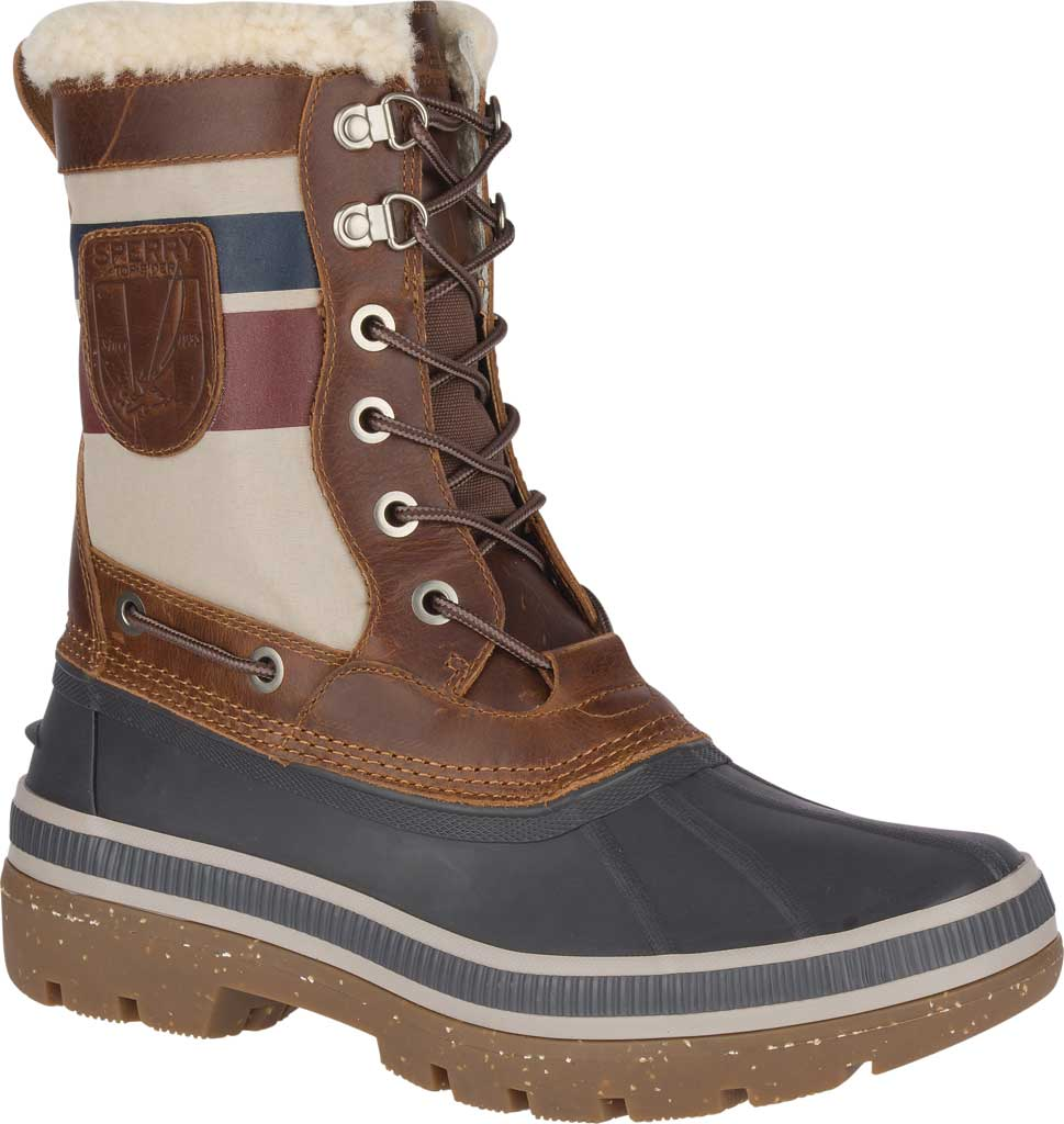 Men's Sperry Top-Sider Ice Bay Tall Duck Boot, Brown/Nautical Rubber, large, image 1