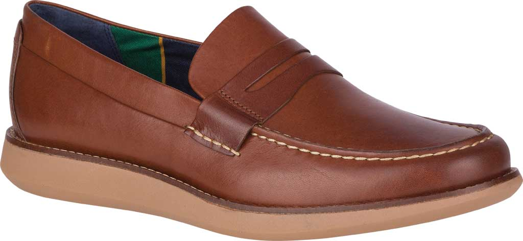 Men's Sperry Top-Sider Kennedy Varsity Penny Loafer, Rustic Tan Leather, large, image 1