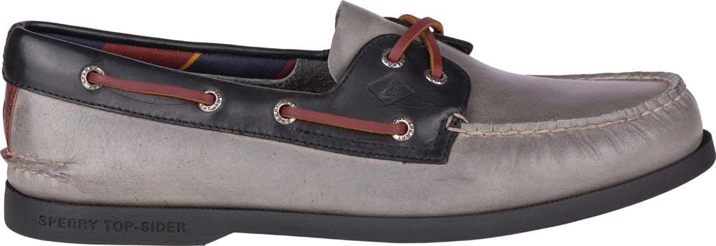 Men's Sperry Top-Sider Authentic Original 2-Eye Plush Varsity Boat Shoe, Grey/Black Leather, large, image 2