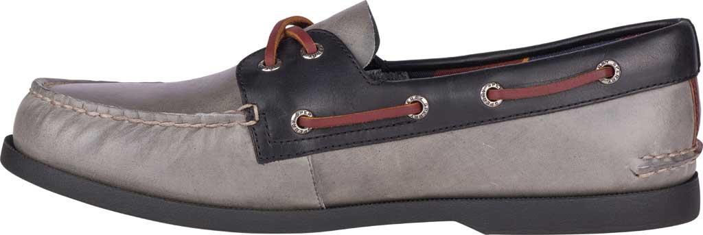 Men's Sperry Top-Sider Authentic Original 2-Eye Plush Varsity Boat Shoe, Grey/Black Leather, large, image 3
