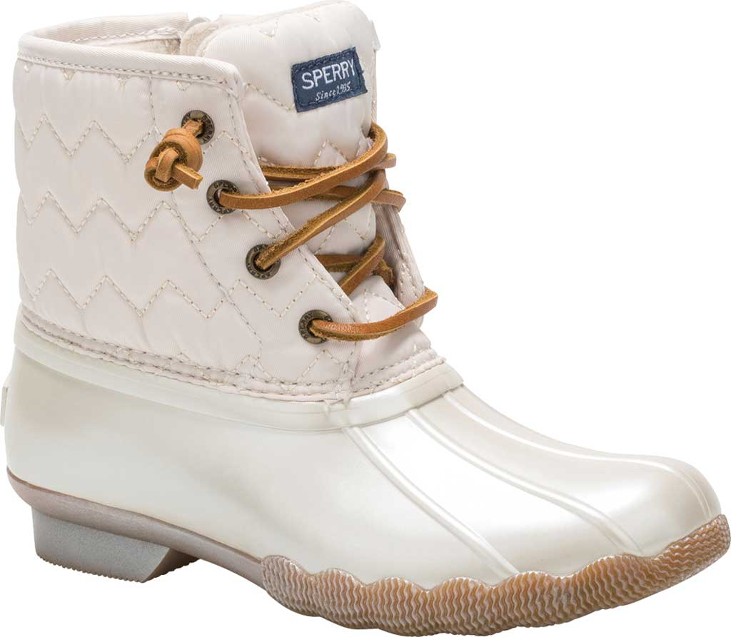 Girls' Sperry Top-Sider Saltwater Lace Up Duck Boot, Pearlized Ivory Textile, large, image 1