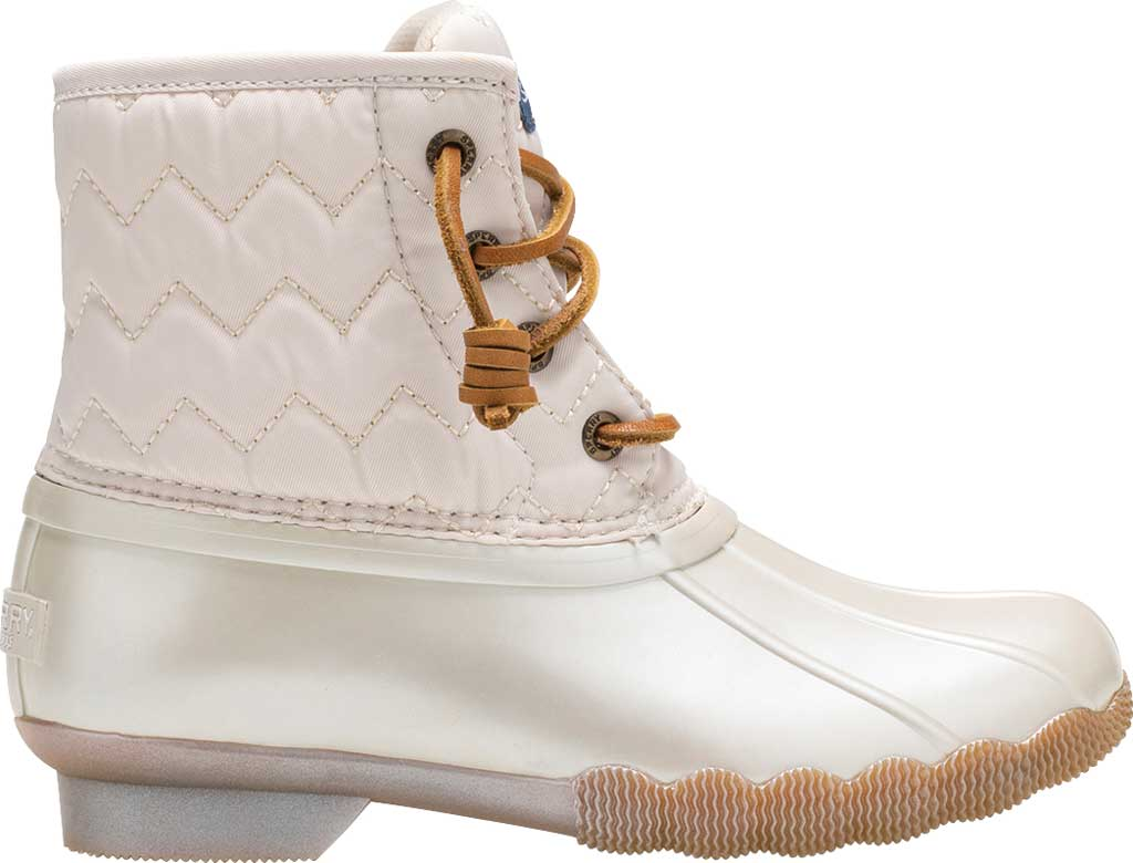 Girls' Sperry Top-Sider Saltwater Lace Up Duck Boot, Pearlized Ivory Textile, large, image 2