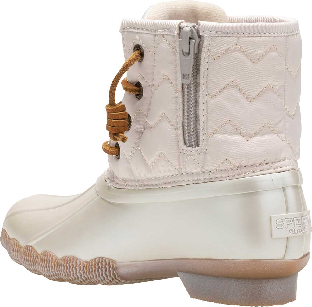 Girls' Sperry Top-Sider Saltwater Lace Up Duck Boot, Pearlized Ivory Textile, large, image 3