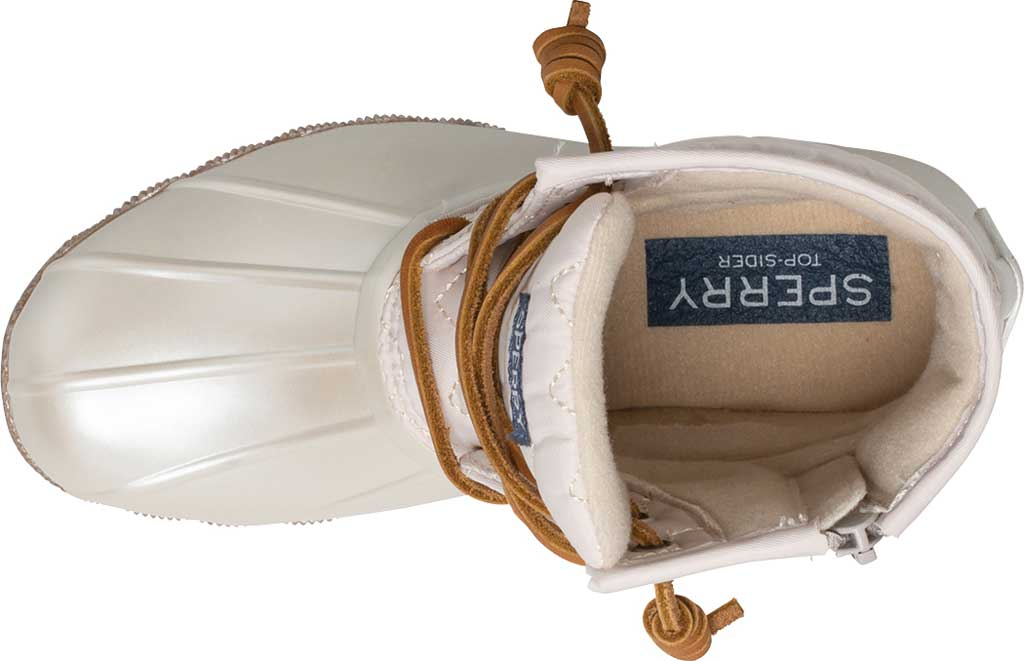 Girls' Sperry Top-Sider Saltwater Lace Up Duck Boot, Pearlized Ivory Textile, large, image 4