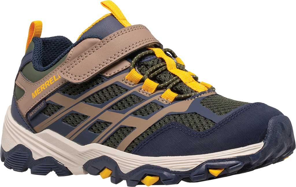 Boys' Merrell Moab FST Low A/C Waterproof Sneaker - Big Kid, Navy/Taupe/Olive Waterproof Mesh, large, image 1
