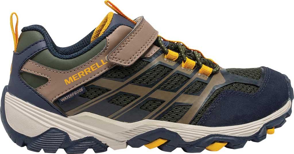Boys' Merrell Moab FST Low A/C Waterproof Sneaker - Big Kid, Navy/Taupe/Olive Waterproof Mesh, large, image 2