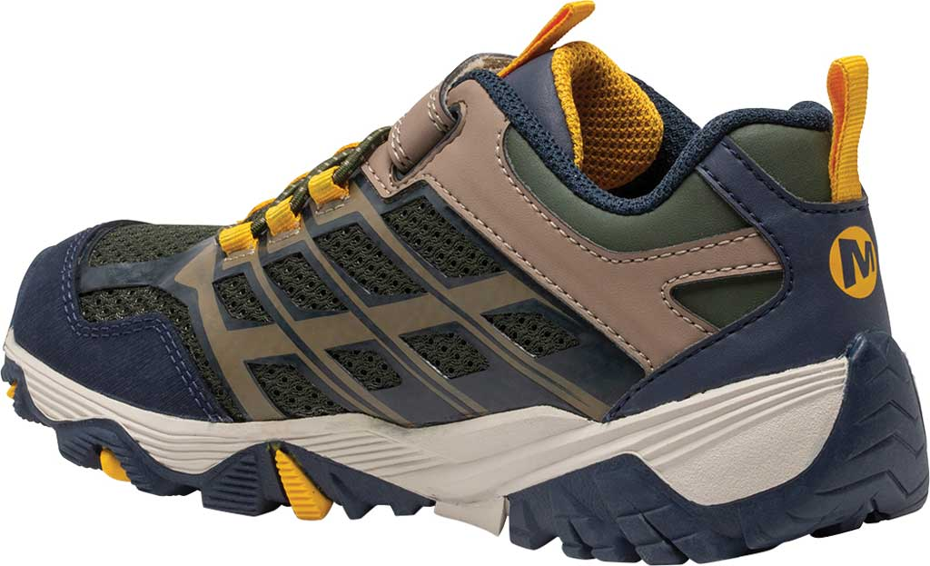 Boys' Merrell Moab FST Low A/C Waterproof Sneaker - Big Kid, Navy/Taupe/Olive Waterproof Mesh, large, image 3