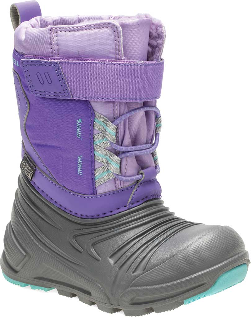 Infant Girls' Merrell Snow Quest Lite 2.0 JR WP Boot - Little Kid, Grey/Purple Nylon, large, image 1