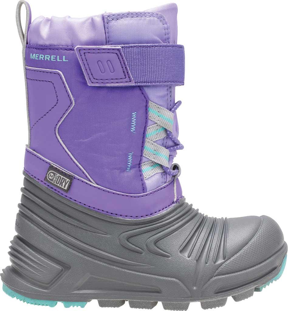 Infant Girls' Merrell Snow Quest Lite 2.0 JR WP Boot - Little Kid, Grey/Purple Nylon, large, image 2