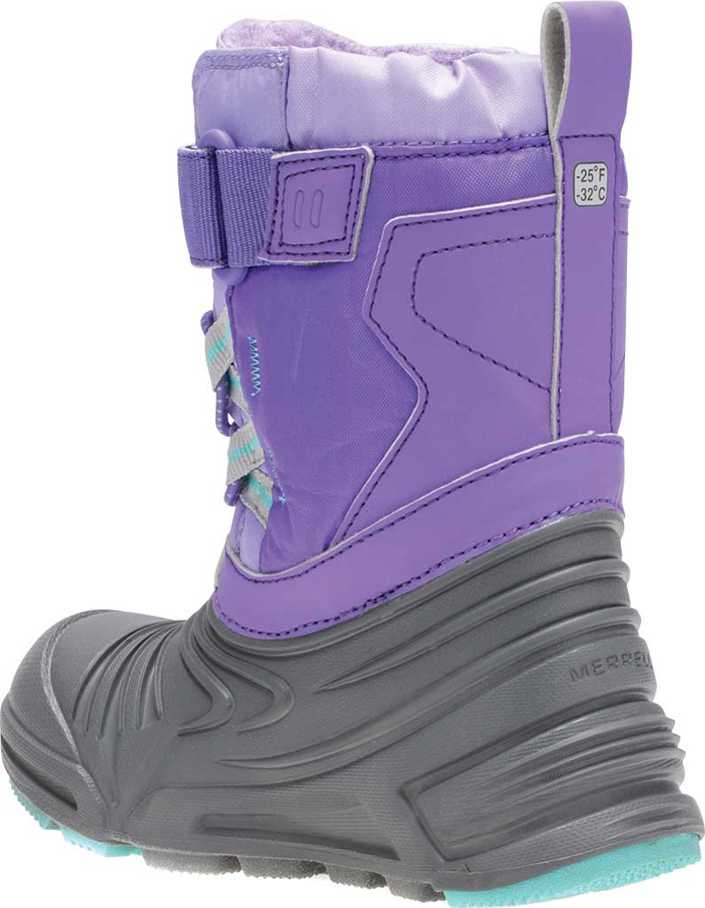 Infant Girls' Merrell Snow Quest Lite 2.0 JR WP Boot - Little Kid, Grey/Purple Nylon, large, image 3