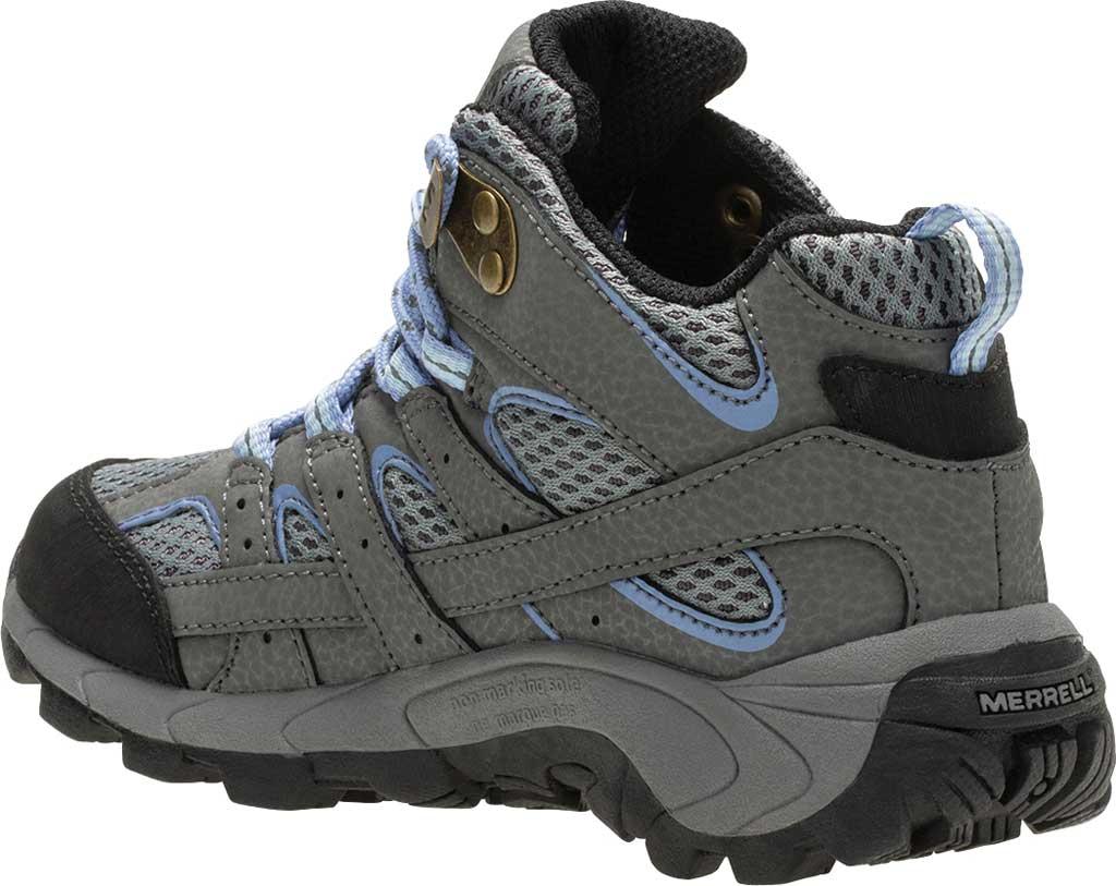 Girls' Merrell Moab 2 Mid Waterproof Shoe - Big Kid, Grey/Periwinkle Suede/Mesh, large, image 3